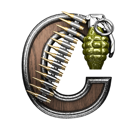 carbine: c military letter. 3D illustration