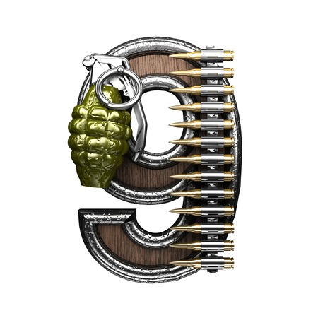 carbine: 9 military letter. 3D illustration