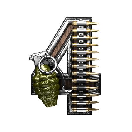 4 military letter. 3D illustration Stock Photo