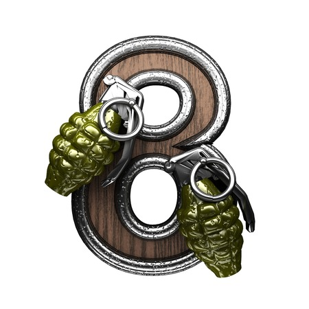carbine: 8 military letter. 3D illustration