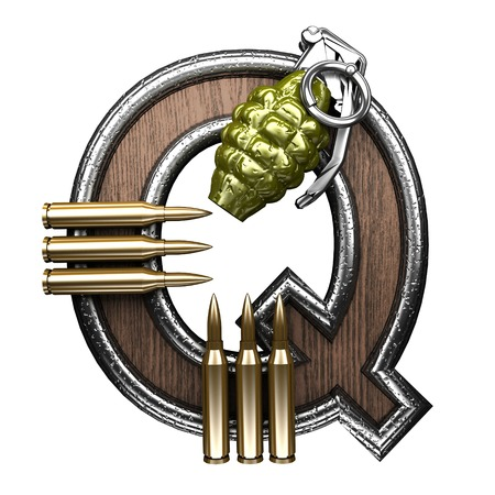 abstruse: q military letter. 3D illustration