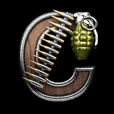 abstruse: c military letter. 3D illustration