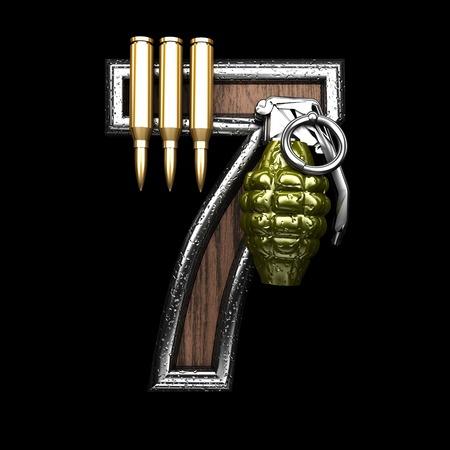 7 military letter. 3D illustration