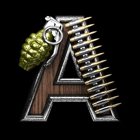 carbine: a military letter. 3D illustration Stock Photo