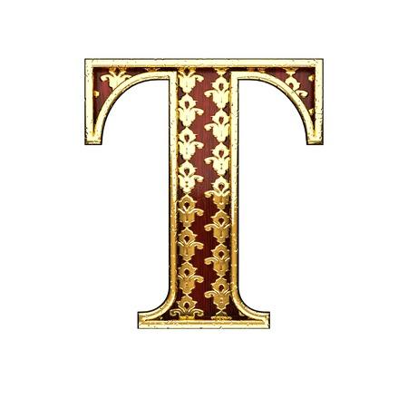 polished wood: t golden letter 3d illustration Stock Photo