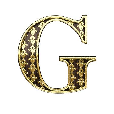 polished wood: g golden letter 3d illustration Stock Photo