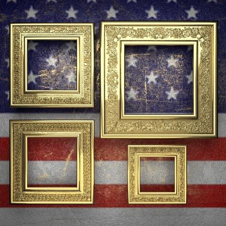karats: golden background painted to US flag. 3D illustration Stock Photo