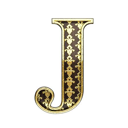 polished wood: j golden letter 3d illustration