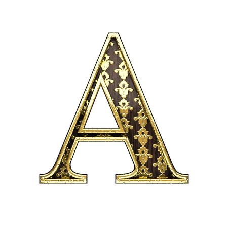 polished wood: a golden letter 3d illustration
