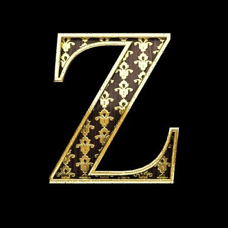 polished wood: z golden letter 3d illustration