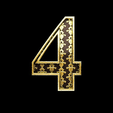 3d  illustration: 4 golden letter 3d illustration