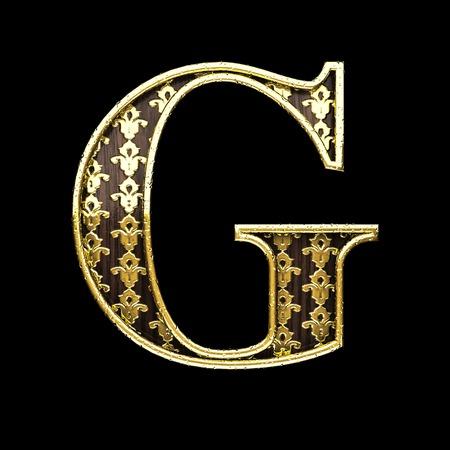 3d  illustration: g golden letter 3d illustration Stock Photo