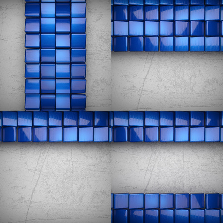 metalic sheet: colored metal on concrette wall background set