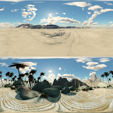 desert oasis: panoramic of palms in desert. made with the One 360 degree lense camera without any seams. 360 ready for virtual reality