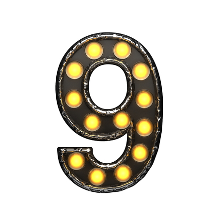 9 metal letter with lights. 3D illustration