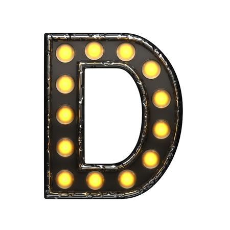 alight: d metal letter with lights. 3D illustration