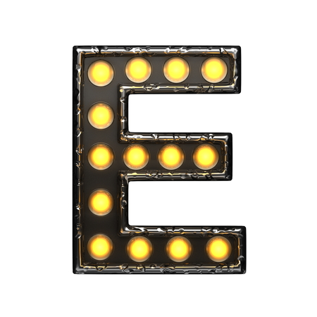 alight: e metal letter with lights. 3D illustration