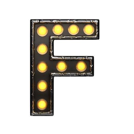 alight: f metal letter with lights. 3D illustration Stock Photo