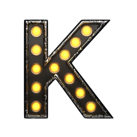 k metal letter with lights. 3D illustration