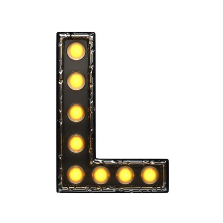 alight: l metal letter with lights. 3D illustration