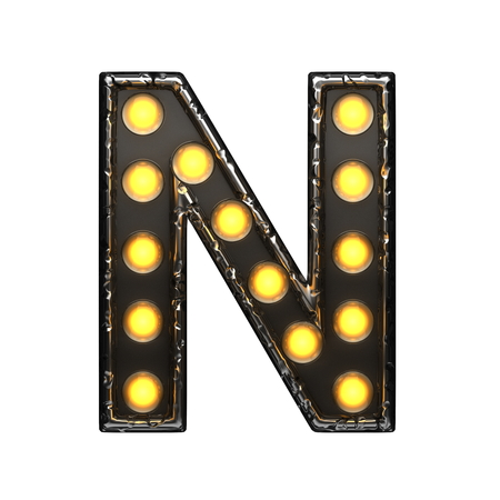 n metal letter with lights. 3D illustration Imagens