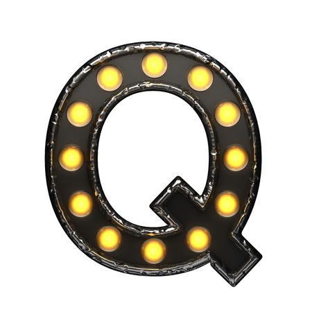 nevada: q metal letter with lights. 3D illustration Stock Photo