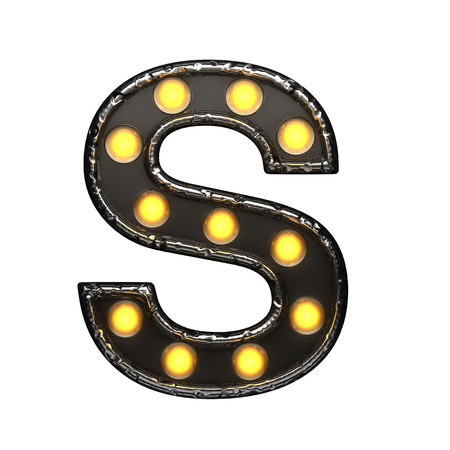 s metal letter with lights. 3D illustration Stock Photo