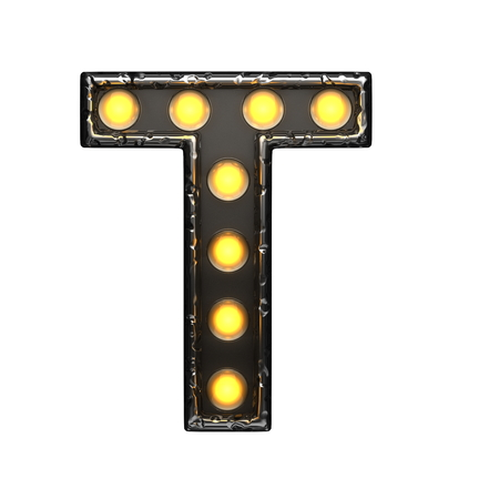 alight: t metal letter with lights. 3D illustration Stock Photo