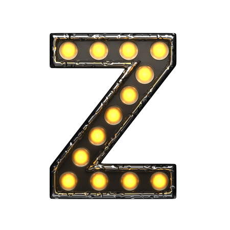 alight: z metal letter with lights. 3D illustration Stock Photo