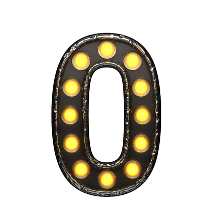 0 metal letter with lights. 3D illustration Stock Photo