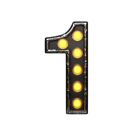alight: 1 metal letter with lights. 3D illustration