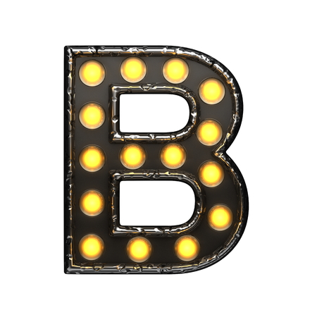 alight: b metal letter with lights. 3D illustration