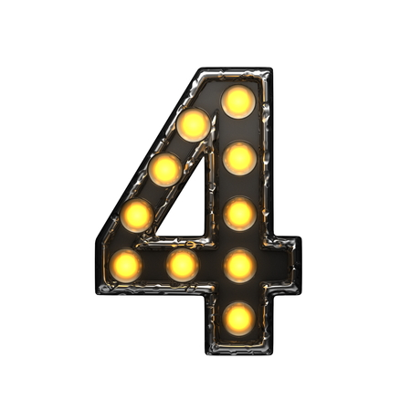 4 metal letter with lights. 3D illustration