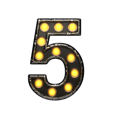 5 metal letter with lights. 3D illustration Stock Photo