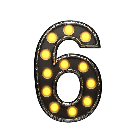6 metal letter with lights. 3D illustration