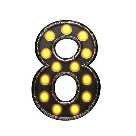 8 metal letter with lights. 3D illustration