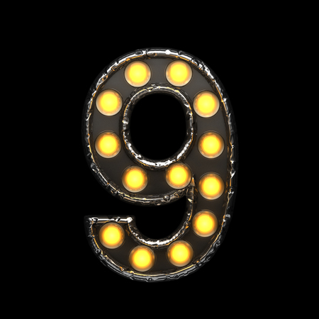 alight: 9 metal letter with lights. 3D illustration