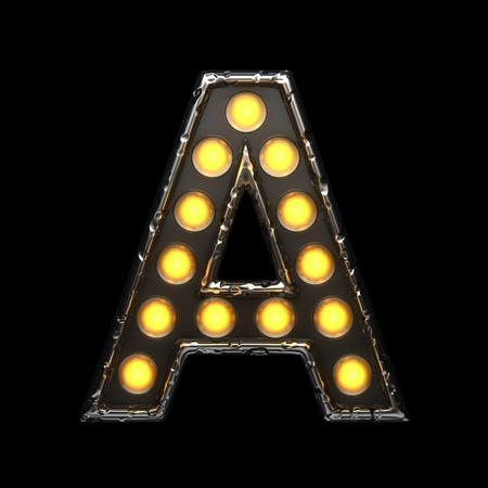 alight: a metal letter with lights. 3D illustration
