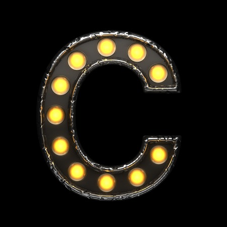 c metal letter with lights. 3D illustration Stock Photo