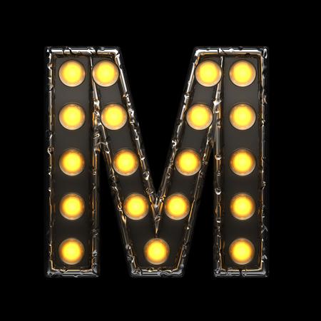 alight: m metal letter with lights. 3D illustration