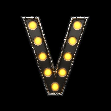 v metal letter with lights. 3D illustration Stock Photo