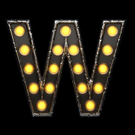 alight: w metal letter with lights. 3D illustration