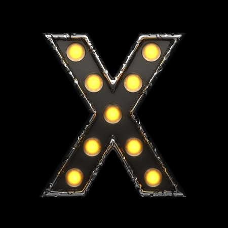x metal letter with lights. 3D illustration Stock Photo