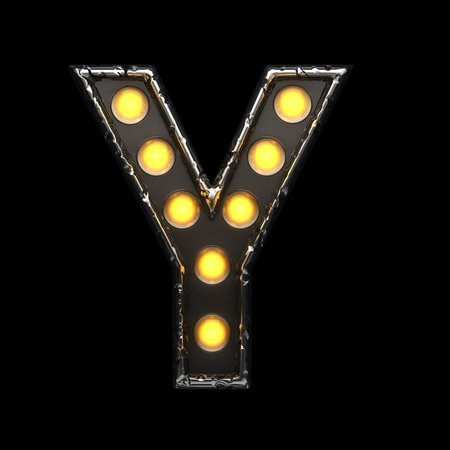 y metal letter with lights. 3D illustration Stock Photo