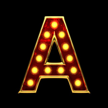 a isolated golden letter with lights on black. 3d illustration Stock Photo