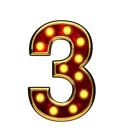 alight: 3 isolated golden letter with lights on white. 3d illustration