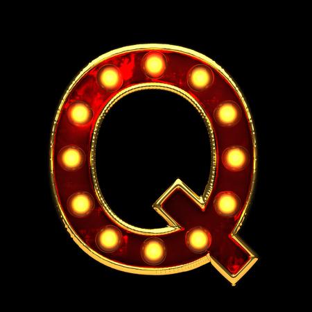 alight: q isolated golden letter with lights on black. 3d illustration