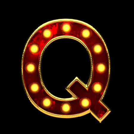 q isolated golden letter with lights on black. 3d illustration