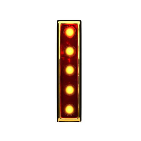 nevada: i isolated golden letter with lights on white. 3d illustration