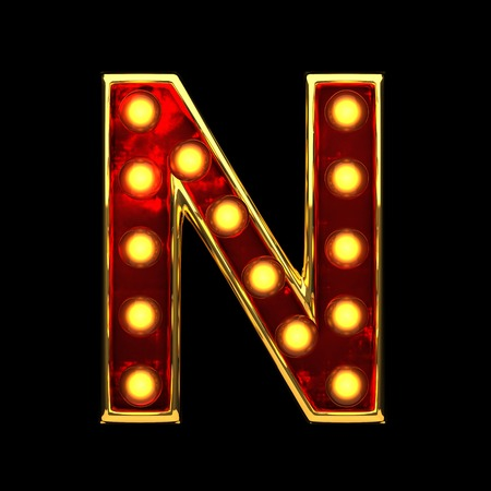 alight: n isolated golden letter with lights on black. 3d illustration Stock Photo